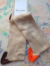 Paul Smith Mens Italian Socks Odd Bright Rib Taupe Orange K179 OneSize CottonMix