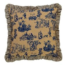 "French Country Toile Euro Cushion / Pillow Cover Blue And Tan 66cm(26"")sq"