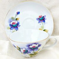 Vintage Colorado Columbina Tea Cup & Saucer Set Hand Painted Purple Flowers