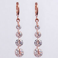 18K 18ct Rose Gold Plated Dangle Drop Clear SWA Crystals Earrings UK 216