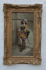 A. Rueff (Francia 19th Century) Cavalier soldado posando con espada óleo sobre panel