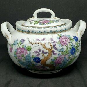 Antique Vintage Nippon Transferware Gold Trim Floral Sugar Bowl Made In Japan