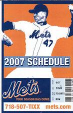 2007 NEW YORK METS BASEBALL POCKET SCHEDULE - GLAVINE