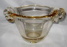 Daum, Nancy, Medium Heavy Crystal Vase or Bowl  France, Amber/Gold, Handles