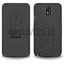 Amzer Shell duro Soporte Funda Con Clip de cinturón pistolera Galaxy Note 3 N9000 Negro