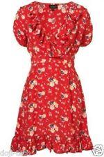 TOPSHOP ROUGE Meadow Fleur Floral Ruffle Wrap Vintage Celebrity tea dress 16 44 US12