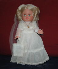 "Vintage First Communion Girl  Doll Hard Plastic  14"""