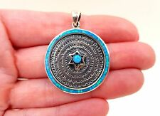 72 HOLY NAMES OF GOD Pendant Blue Opal Star Of David Kabbalah Israel Judaica NEW