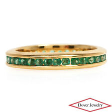 Estate Emerald 14K Gold Fancy Stack Eternity Band Ring NR