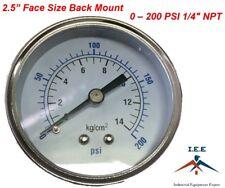 Air Compressor Pressurehydraulic Gauge 25 Face Back Mount 14 Npt 0 200 Psi