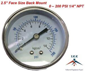 "Air Compressor Pressure/Hydraulic Gauge 2.5"" Face Back Mount 1/4"" NPT 0-200 PSI"