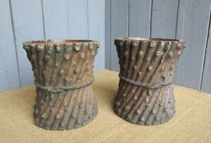 Pair of Antique Victorian Truncated Planters - Tree Trunks/Plant Pots - Ornament