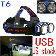 Bright 8000LM XML-L2 T6 LED Headlight USB Headlamp Head Torch Lamp Flashlight