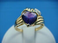 2 Ct 14K Yellow Gold Over Heart Shaped Amethyst & Diamonds Ladies Ring