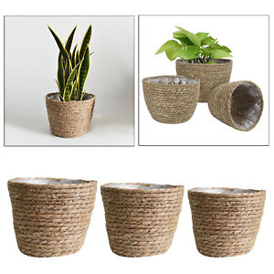 Straw Seagrass Plant Basket Flower Pot Laundry Bag Storage Planter Pots