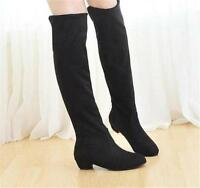 Sexy Womens Classic Ladies Suede Pull On Over The Knee High Flat Long Boots Size