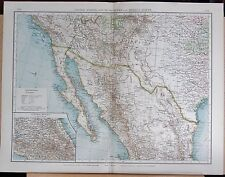 """1900 """"TIMES""""  LARGE ANTIQUE MAP - UNITED STATES SOUTH WEST AND MEXICO NORTH"""