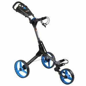 Cube Compact 3 Wheeled Golf Trolley Charcoal/Blue + Umbrella Holder & Boot Bag