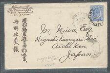 MALAYA STRAITS SETTLEMENTS (PP2508B) KE 8C BLUE FROM RAFFLES HOTEL TO JAPAN WITH