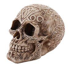 Celtic Owl Knotwork Tribal Human Skull Halloween Figurine Bones Home Decor