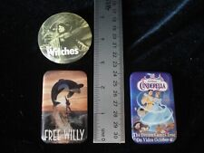 FREE WILLY THE WITCHES DISNEY'S CINDERELLA Lot of 3 Vintage Buttons Pin Back