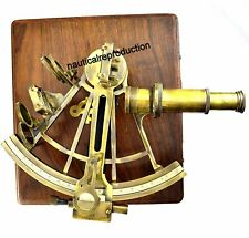 """Maritime Nautical Ship Astrolabe 8"""" Heavy Brass Antique Sextant With Wooden Box"""