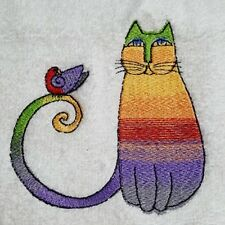 Embroidered Facewasher Rainbow Cat