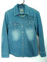 Women's Size Medium Epic Threads Long Sleeve Button Up Denim Blue Jean Shirt