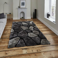 "Modern Small Large 3d Texture Noble House Black Grey Pebble Sparkle Shaggy Rugs 150x230cm (5'x7'6"")"