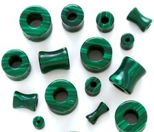 PAIR-Stone Agate Malachite Green Double Flare Tunnels 08mm/0 Gauge Body Jewelry
