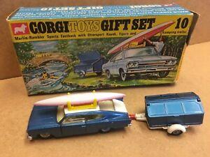 Vintage Corgi Toys Gift Set 10 Marlin Rambler Trailer & Kayak Boxed original