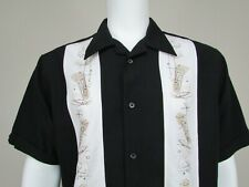 Cubavera Embroidered Cocktails Bowling Cigar Shirt Black w/White S/S Mens Large