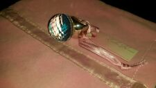 Lola rose rock crystal & abalone shell sterling silver pom pom ring size small
