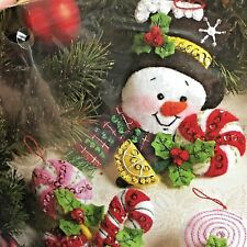 Bucilla 86308 Candy Snowman Felt Ornaments 6 pc NEW Frosty Candy Cane 2011