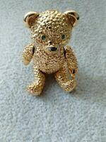 Vintage Articulated Textured Teddy Bear Emerald Rhinestone Gold Plate Brooch Pin