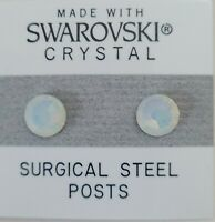 White Round Stud Earrings 7mm Circle Crystal Made with Swarovski Elements