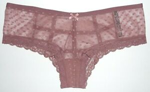 NEW Victoria Secret Very Sexy Dot Mesh Caged Cheeky Panty - Vintage Rose - XL