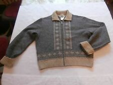 Orvis Women's Sweater full zip heavy wool blend gray w snowflake pattern - Sz M