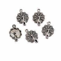 Peacock Beads Tibetan Silver Charms Pendant DIY Bracelet 16*17mm 10pcs