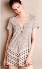Anthropologie Puella Striped Gray and Cream Casual Tunic Size Small