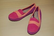 Ladies Real Leather Suede Loafers Hush Puppies Size Pink/Purple/Orange - NEW