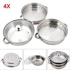 3 TIER INDUCTION HOB STAINLESS STEEL 27CM STEAMER POT PAN COOKER SET GLASS LID