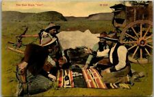 "Vintage 1910 Western Postcard POKER / Card Game Scene ""The Cowboy's Call"" Gun"