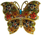 Gold Butterfly Crystals Jewel Jewelry Trinket Ring Box