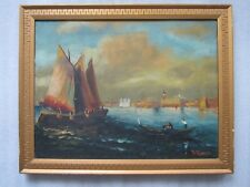 Antique R. Romero Venetian Impressionist Venice Harbor Sailboat Oil Painting
