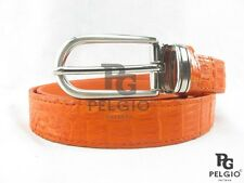 "PELGIO Real Genuine Crocodile Alligator Skin Leather Women Belt 36"" Long Orange"