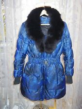 DKNY Blue Print tampon Down Coat Detachable REAL FOX FUR COLLAR uk8