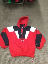 Vintage Chicago Bulls Basketball Red Black Starter Jacket With Hood XL Good Cond