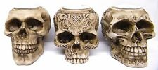 3 x  Skull Tealight Holder Gruesome Heads Halloween Gothic Fantasy Ornament