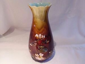 "Antique Majolica Vase Floral Pink Lotus Flowers 12"""